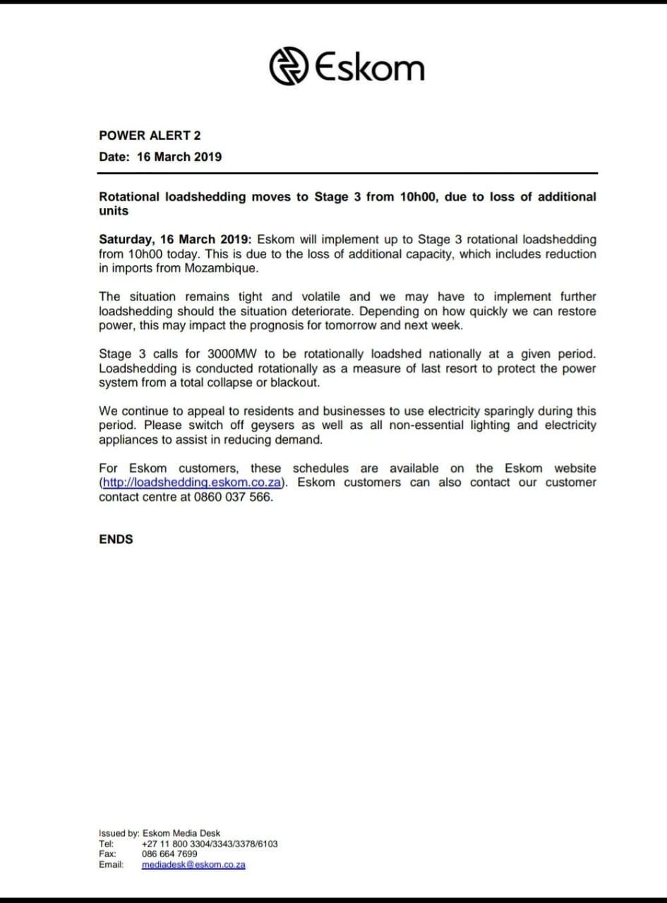 Eskom escalates load shedding to Stage 4   George Herald