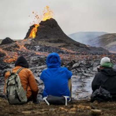 Thousands toast marshmallows at Iceland's erupting volcano
