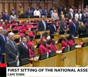 EFF sit in protest during Afrikaans and English sections of anthem