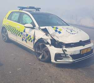 Provincial Traffic vehicle in accident in thick smoke