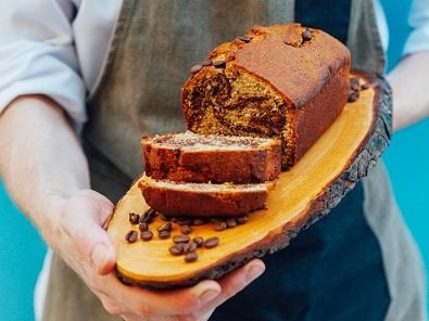 French-style cake with coffee, almond and cocoa