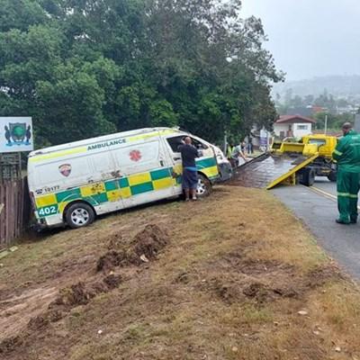 Ambulance goes off Waterfront Drive