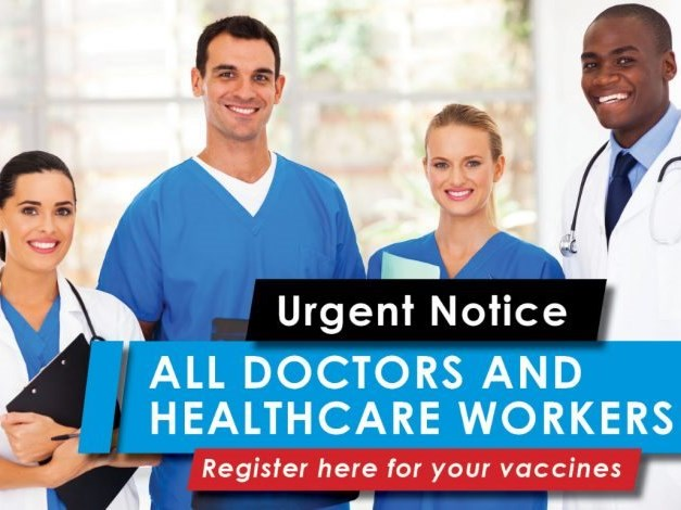 Doctors, healthcare workers need to urgently register for vaccines