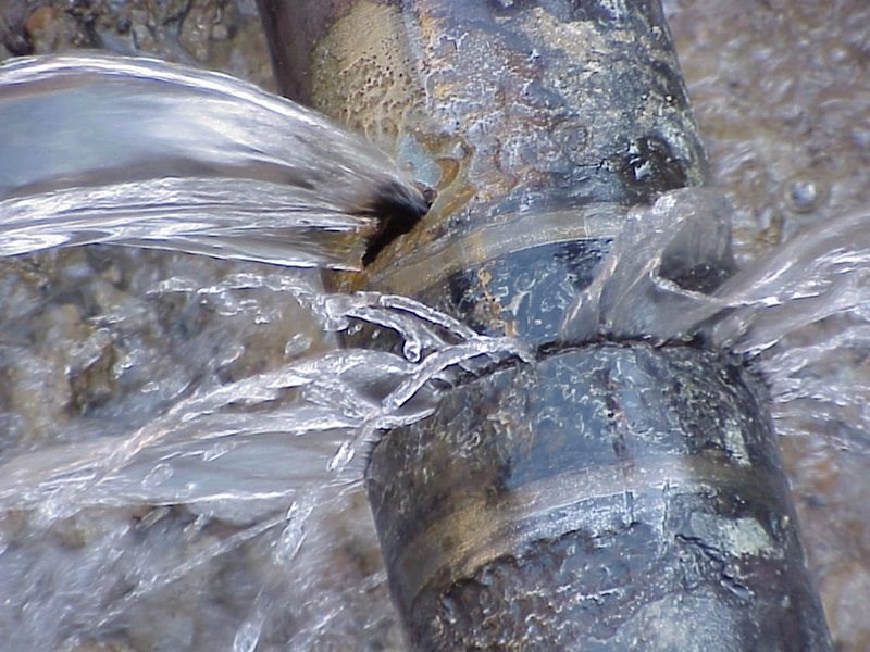Burst water pipe in George