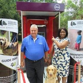 Guide-dogs are trained to assist visually impaired at ATMs