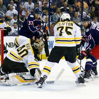 Bruins down Blue Jackets to advance in NHL playoffs, Sharks-Avs tied