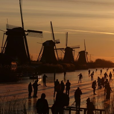 Skating-mad Dutch seize rare chance to hit icy canals