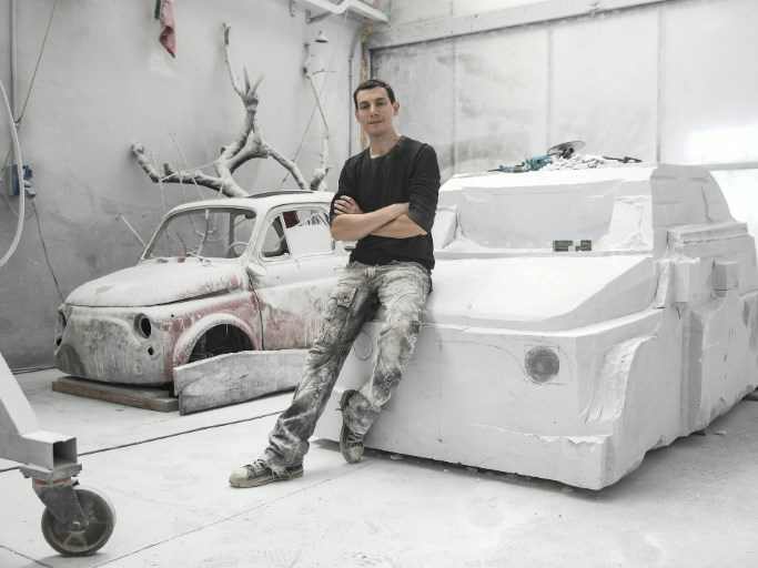Artist sculpts a Fiat 500 out of marble