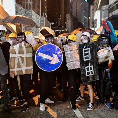 Hong Kongers harness traffic cones, kitchenware to battle tear gas