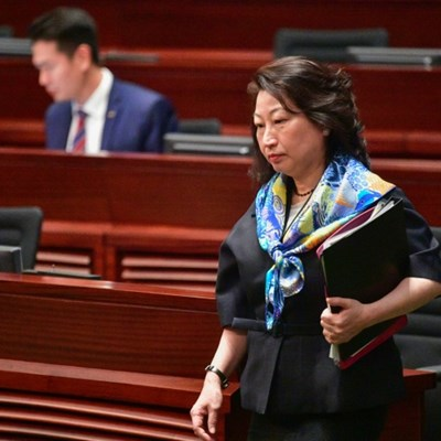 Hong Kong leader condemns London protester 'attack' on minister