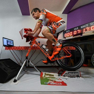 Triathlete racks up miles for good cause while going nowhere fast