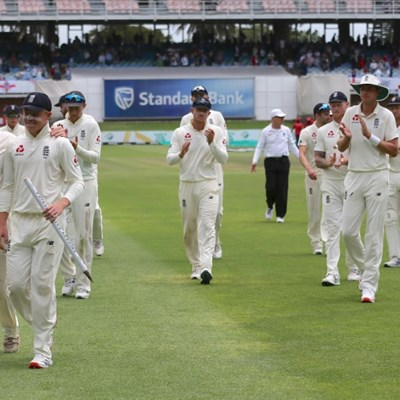 England celebrate innings win over South Africa
