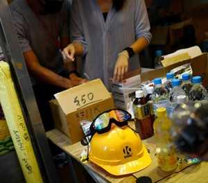 Gas masks and hard hats at Hong Kong's protest pop-up store