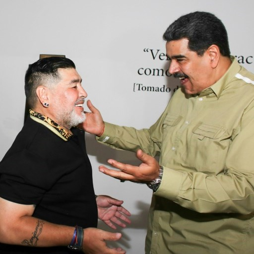 Maduro welcomes Maradona to Caracas ahead of forum