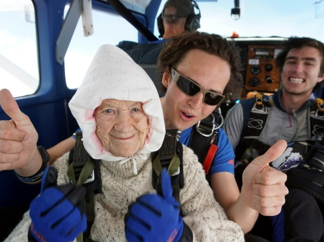Great-granny becomes 'oldest' skydiver