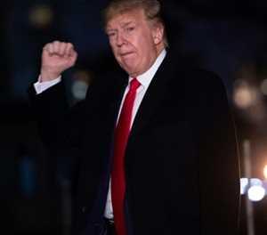 Trump, back from Davos, denounces Senate impeachment trial