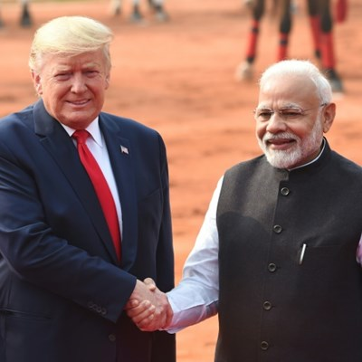 Deadly riots as Trump talks trade, choppers in India