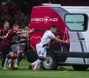 Players rescue ambulance in Brazilian league game
