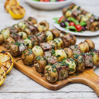 Steak, Mushroom and Baby Potato Kebabs