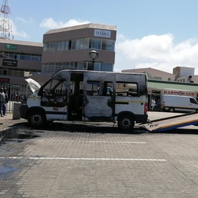 Minibus up in flames in CBD