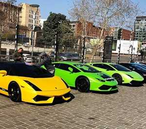 Lamborghinis on display this afternoon