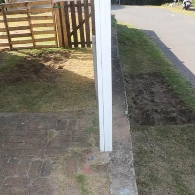 Grasmanne steel gras uit erf