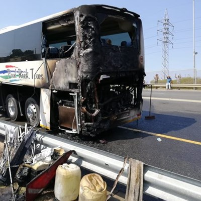 Traffic affected after bus burns on N2
