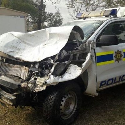 Policeman shoots himself after crashing SAPS bakkie into cows