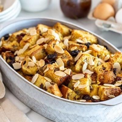 Hot cross bun bread butter pudding recipe