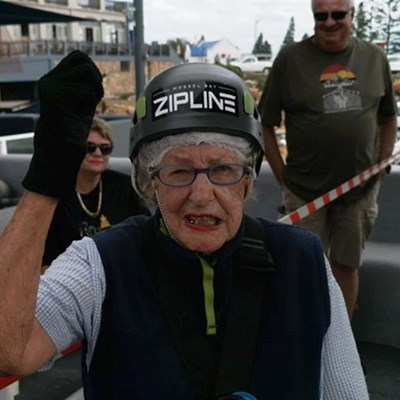 92 Year old enjoys birthday zipline ride