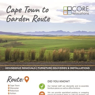 Core Relocations now from Cape Town to Garden Route