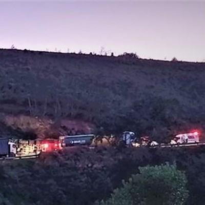 Truck overturns in Robinson Pass