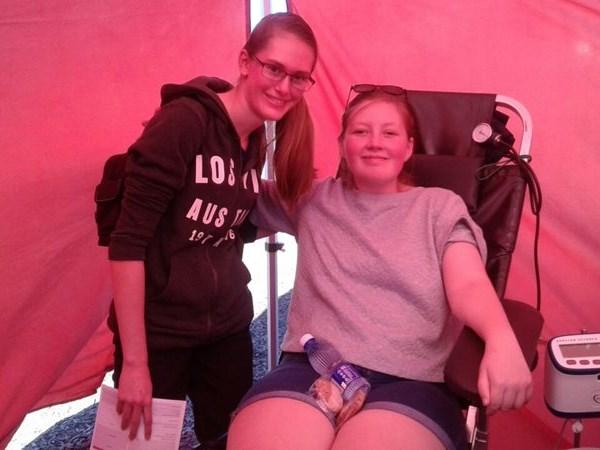 Blood donation drive at market