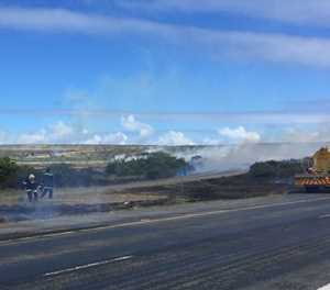 Veld fires burning at Dana Bay turnoff