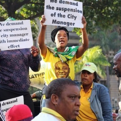 Journalists caught up in violent protests over Durban Mayor