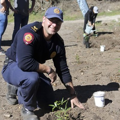 Fire Department plants trees on Arbour Day