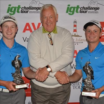 a745a55db74b0 Estiaan (left) and Ruan Conradie with Zwartkop Better Ball tournament host  Dale Hayes. Photo: CJ du Plooy.